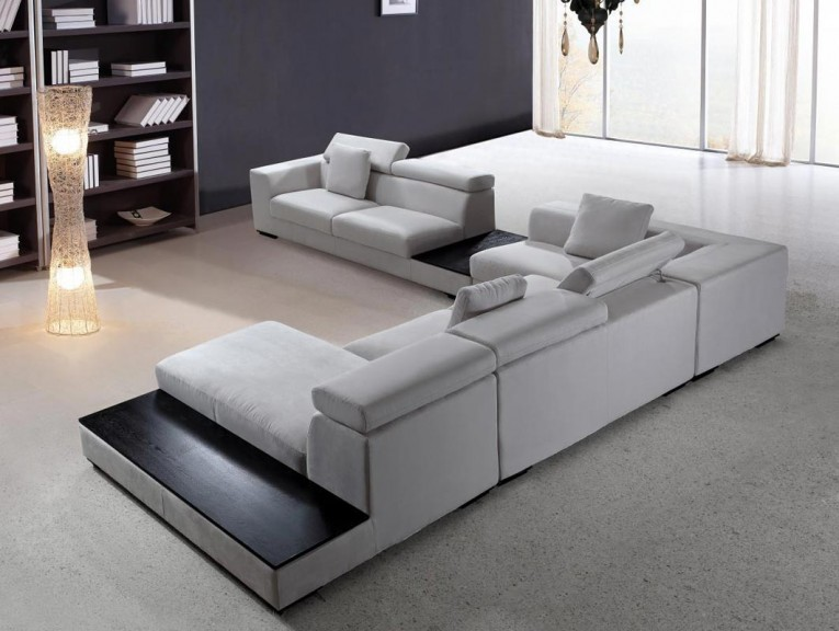 Blue Gray Sectionals Sofas And Free Stand Lamps