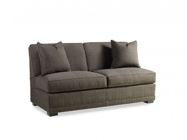 Brown Gray Color Armless Settee With Cushion
