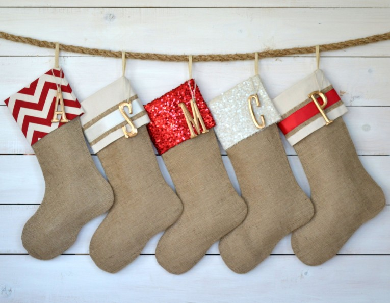 Classic Brown Monogrammed Stockings In The Christmas Display For Living Room Ideas