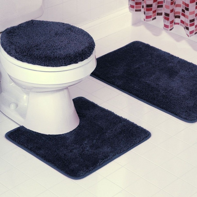 Dark Blue Bath Mat At Toilet For Toilet Interior Design