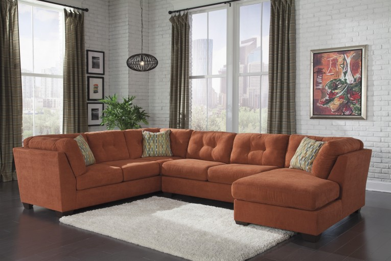 Dark Red Sectional Sofa Reeds Furniture With Picture On The Wall And White Rugs