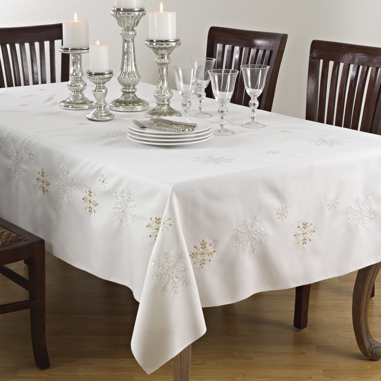 dining chairs and dining table wrap it by oblong tablecloth