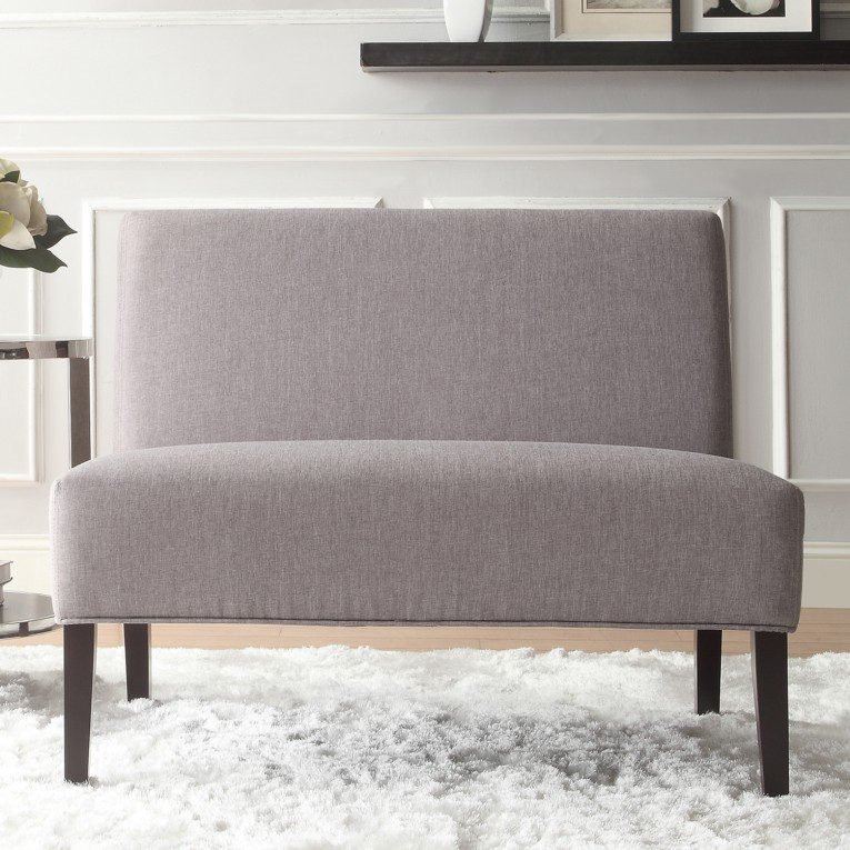 Fascinating Loveseat Sleeper Armless Settee With White Rugs And Brown Laminate Flooring