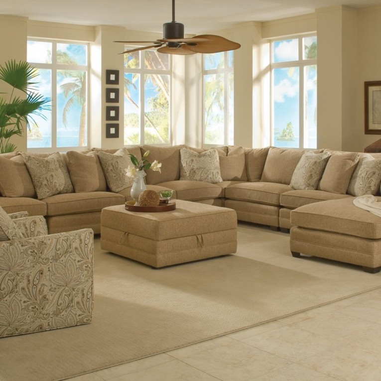 Fascinating Sectionals Sofas With Fabric Ottoman