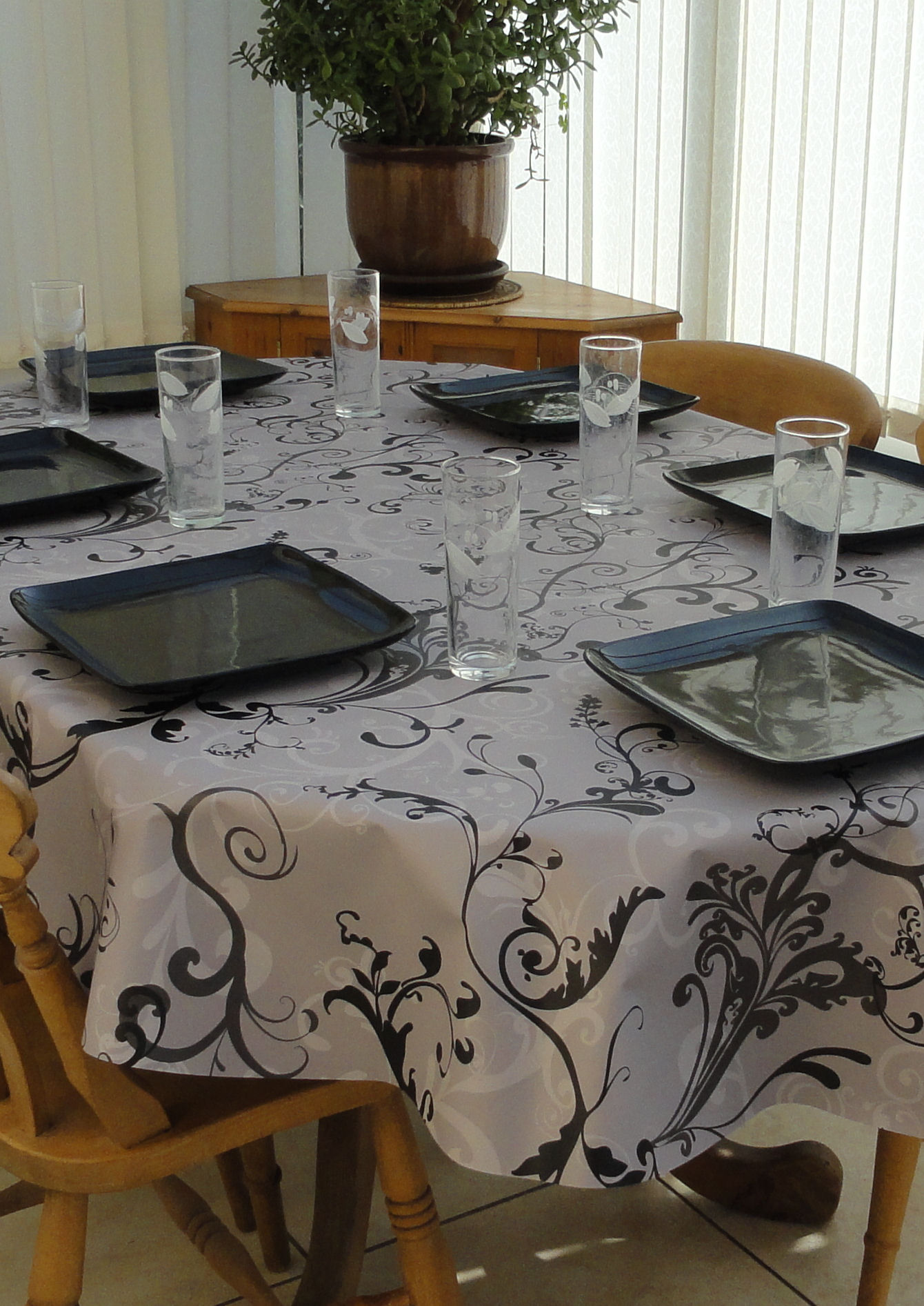 fascinating white abstract oblong tablecloth
