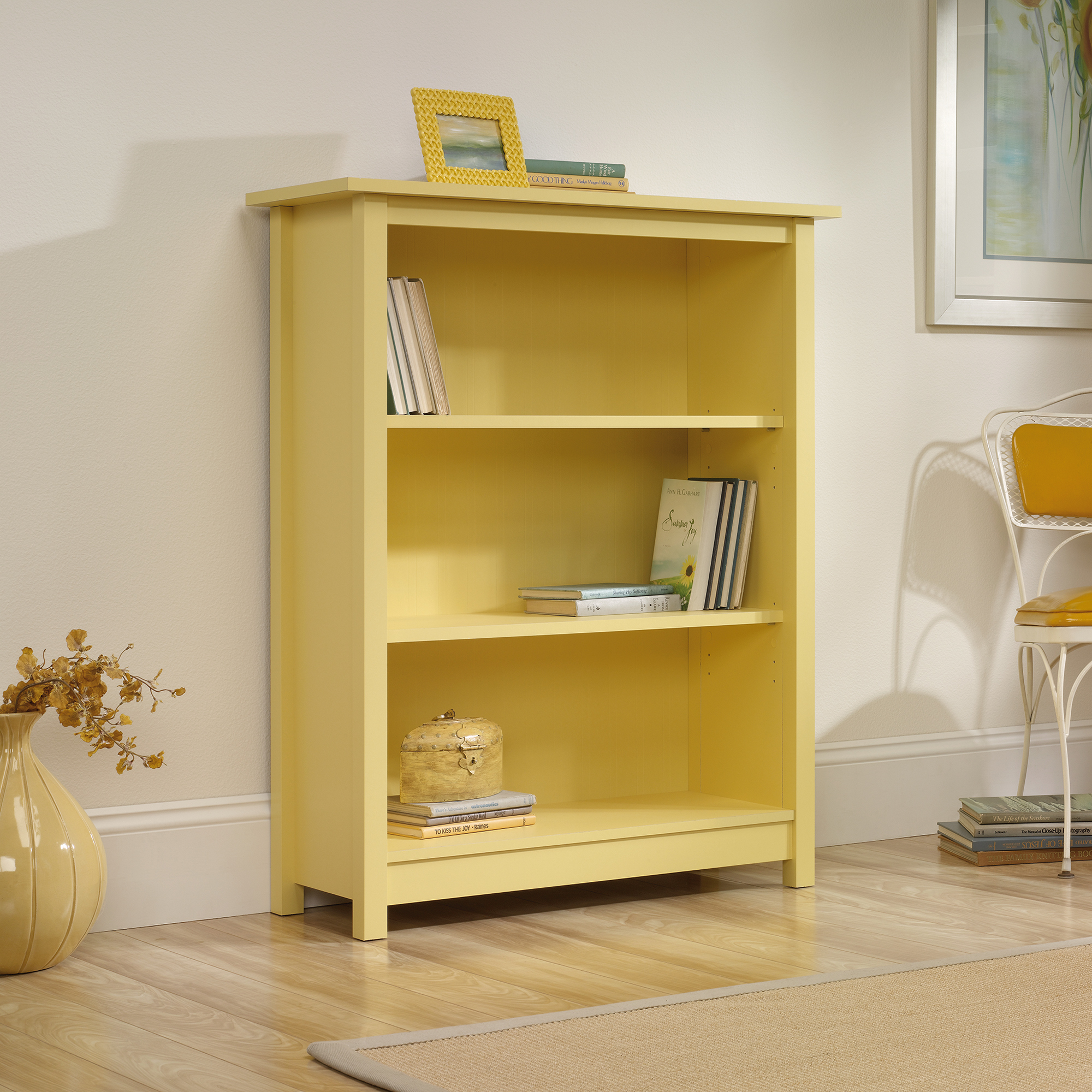 fascinating yellow simple sauder bookcases and flower vas and porcelain floor