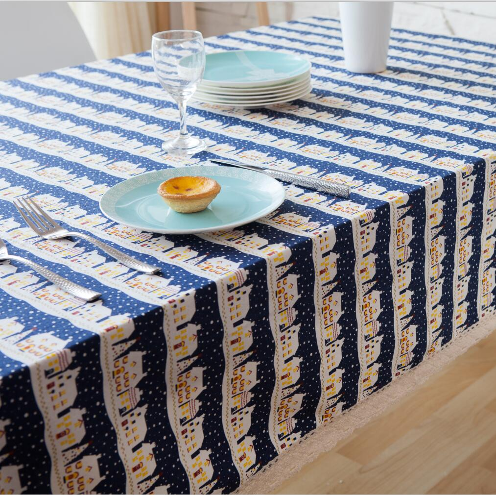 fresh blue colors oblong tablecloth