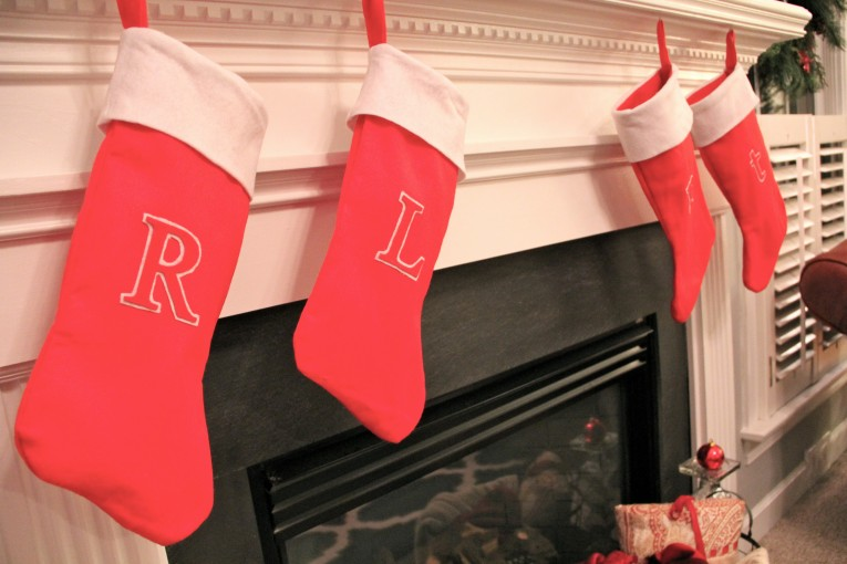 Gorgeous Monogrammed Stockings In The Christmas Display For Living Room Ideas