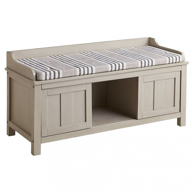 Hampton Ville Storage Benches Gray Colors And Seat Cushions