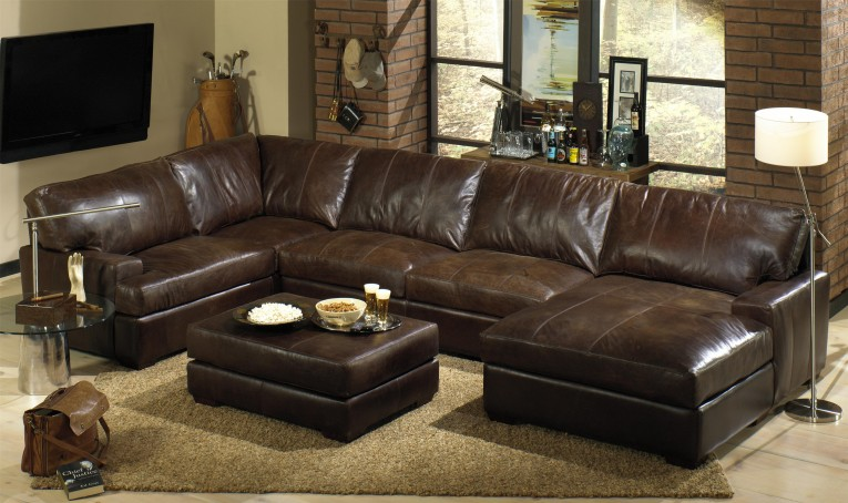 Interesting Leather Sectionals Sofas With Dark Brown Area Rugs And Glass Sidetable