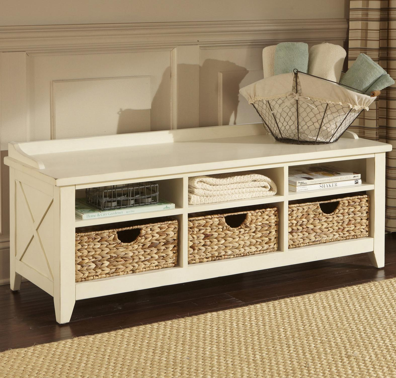 interesting mudroom white storage benches with searugs and wicker basket