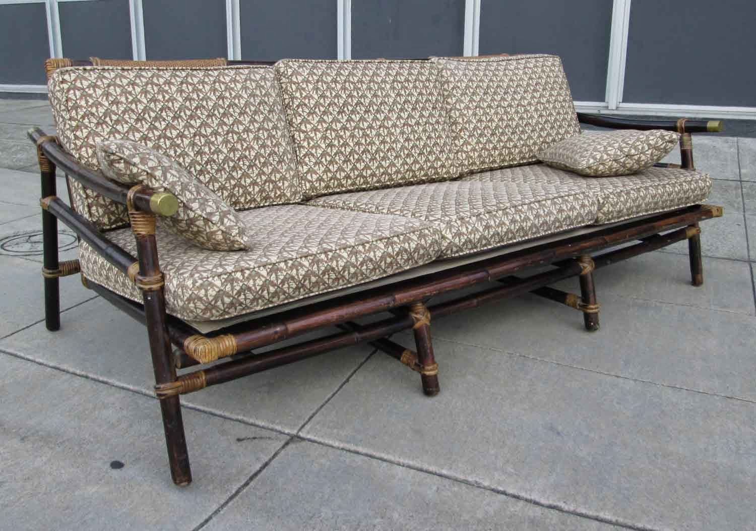 long sofa rattan reeds furniture with pattern cushion