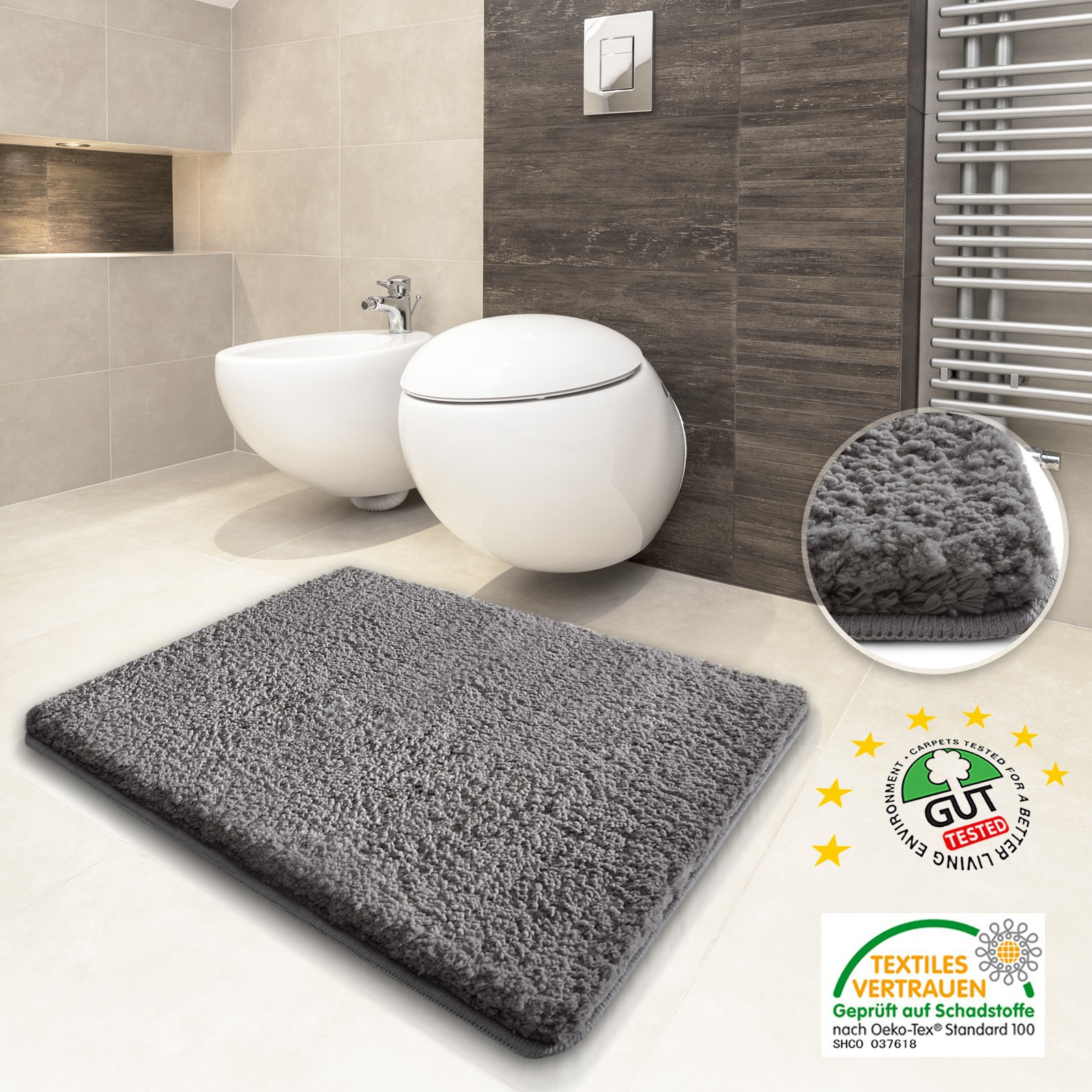 luxury gray bath mat and ceramic floor and wooden wall