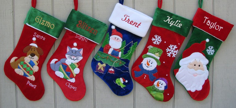 Luxury Monogrammed Stockings In The Christmas Display For Living Room Ideas