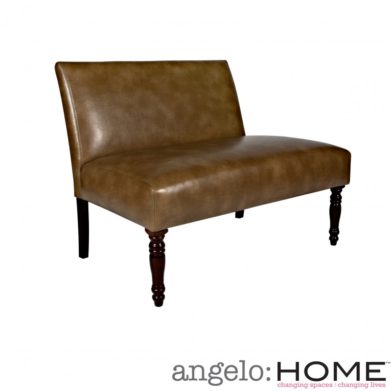 Mesmerizing Angelo Milk Chocolate Color Armless Settee