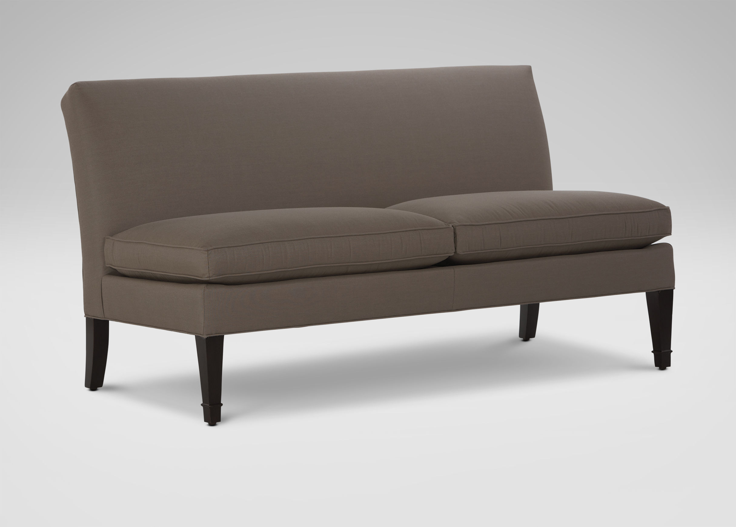 mesmerizing armless settee gray color sofaa