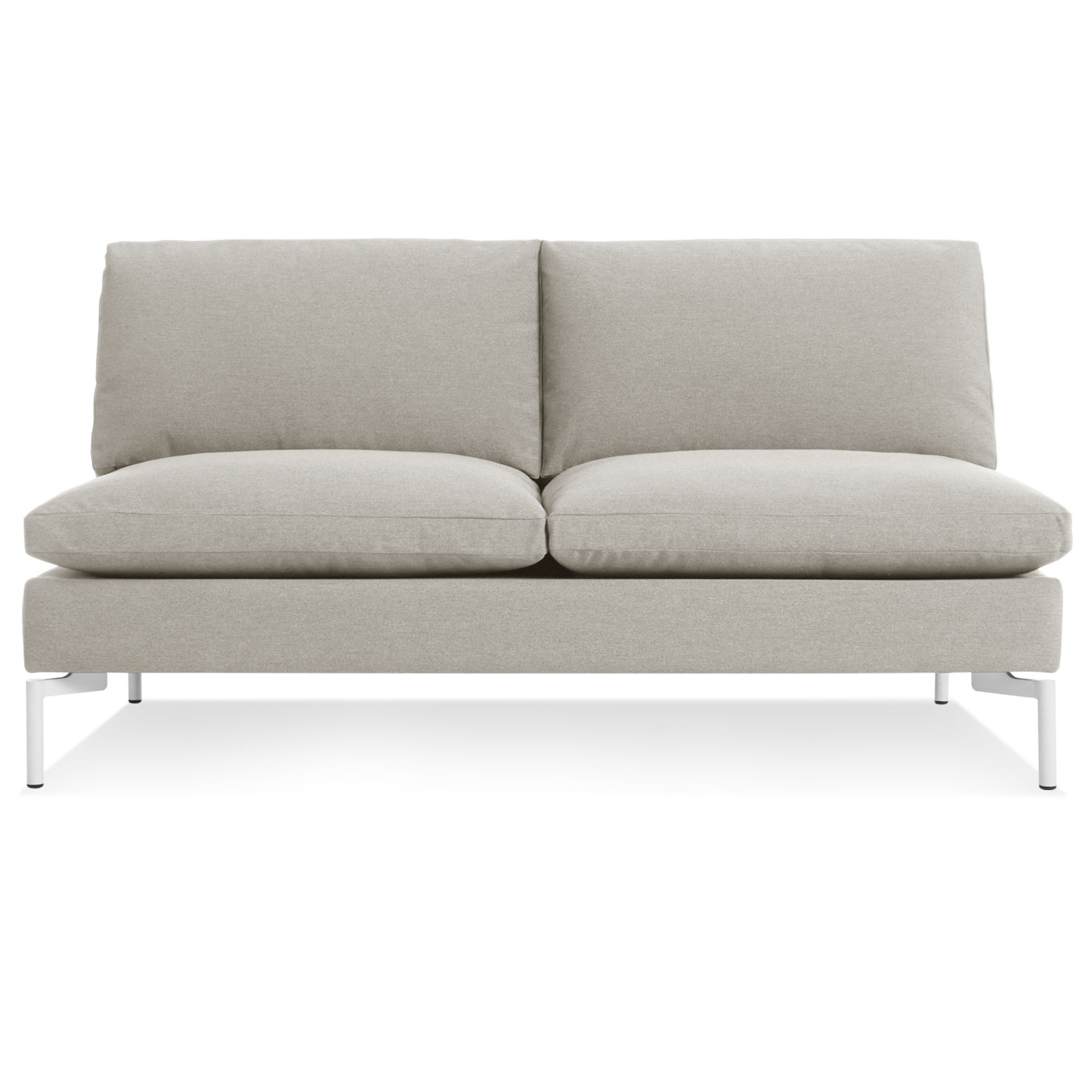 mesmerizing armless settee white front view for living room