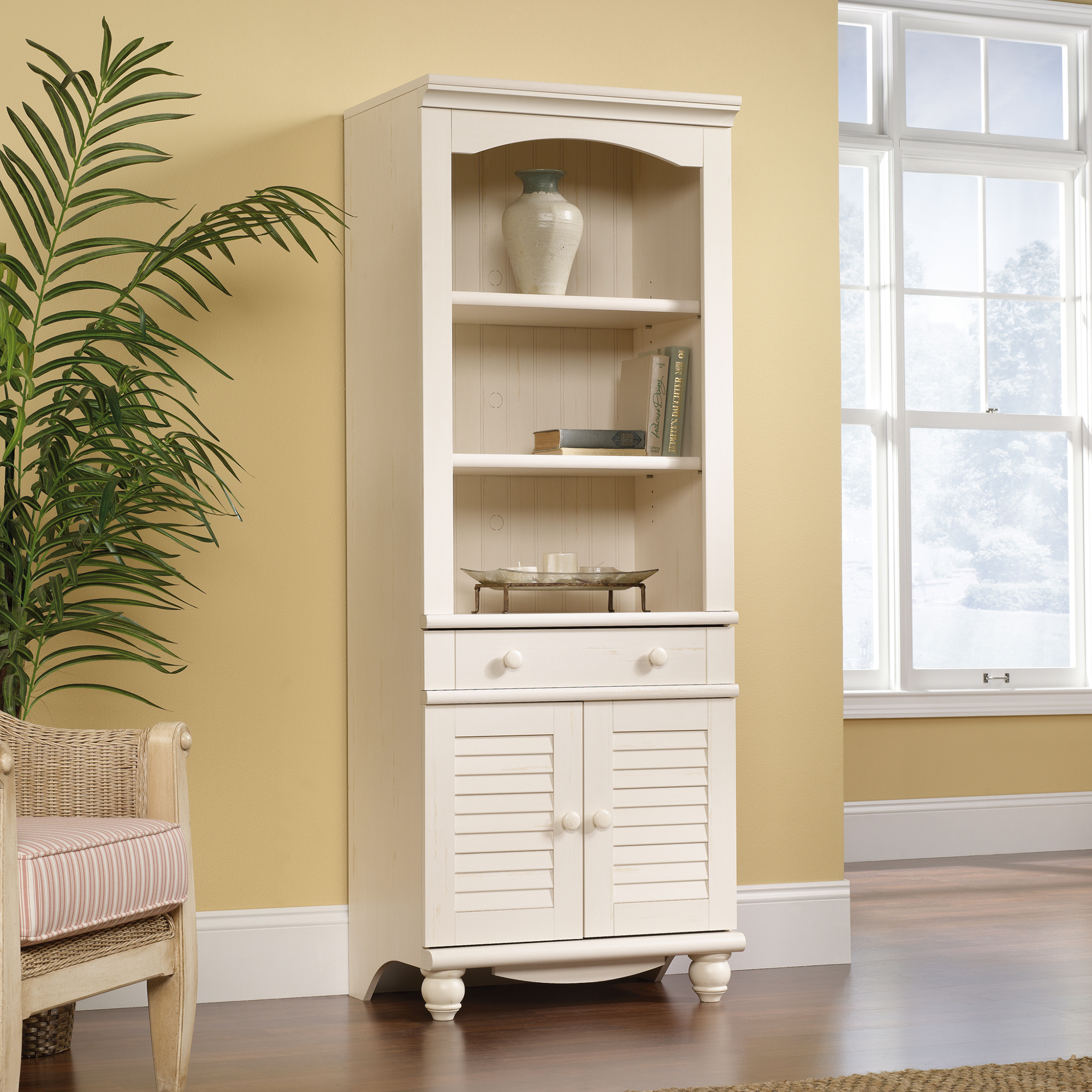 mesmerizing white sauder bookcases with laminate flooring and window
