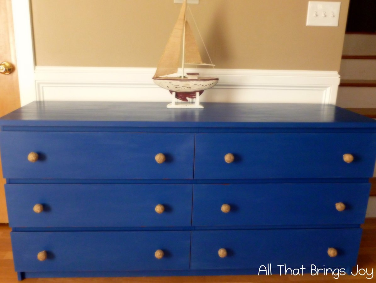Nice Leak Wooden Blue Malm 6 Drawer Dresser