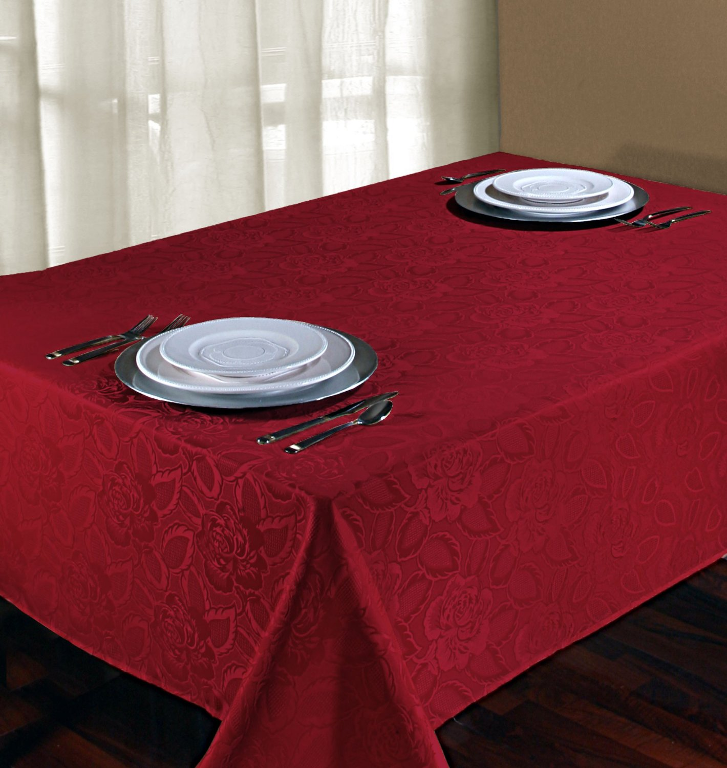 nice red oblong tablecloth for home decor
