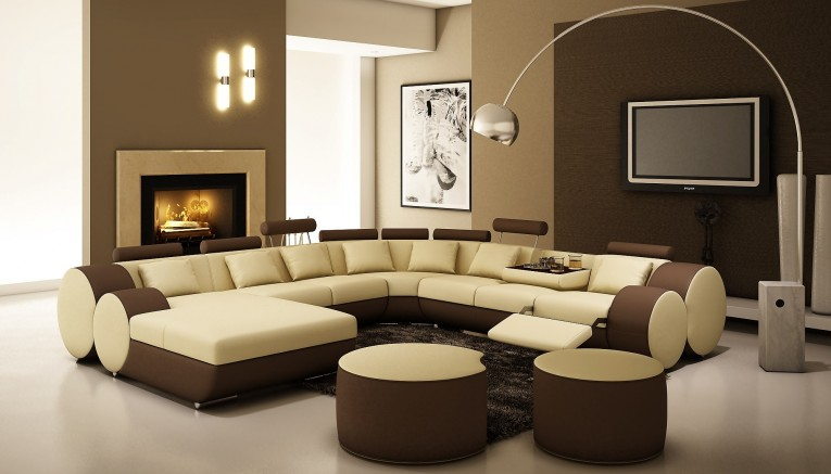 Nice Sectionals Sofas  With Arc Lamps