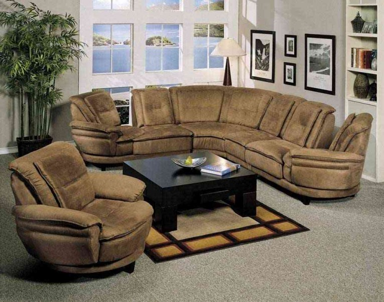 Nice Unique Sectionals Sofas With Black Square Coffee Table