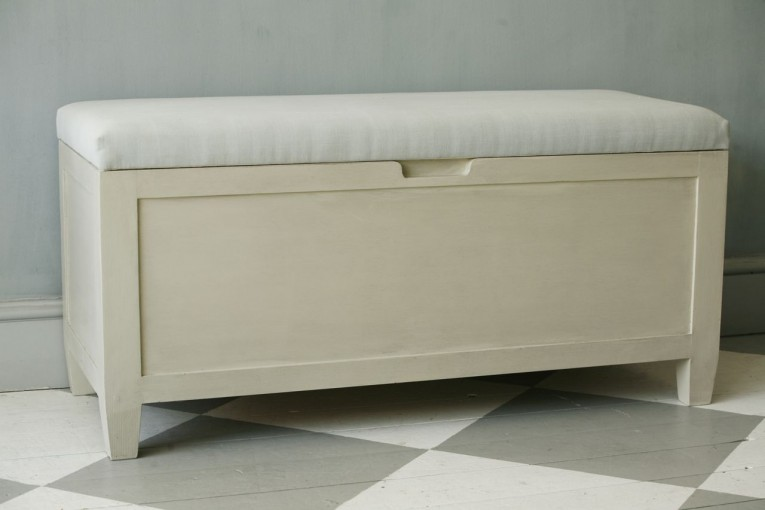 Nice White Outside Storage Benches With Ceramic Flooring