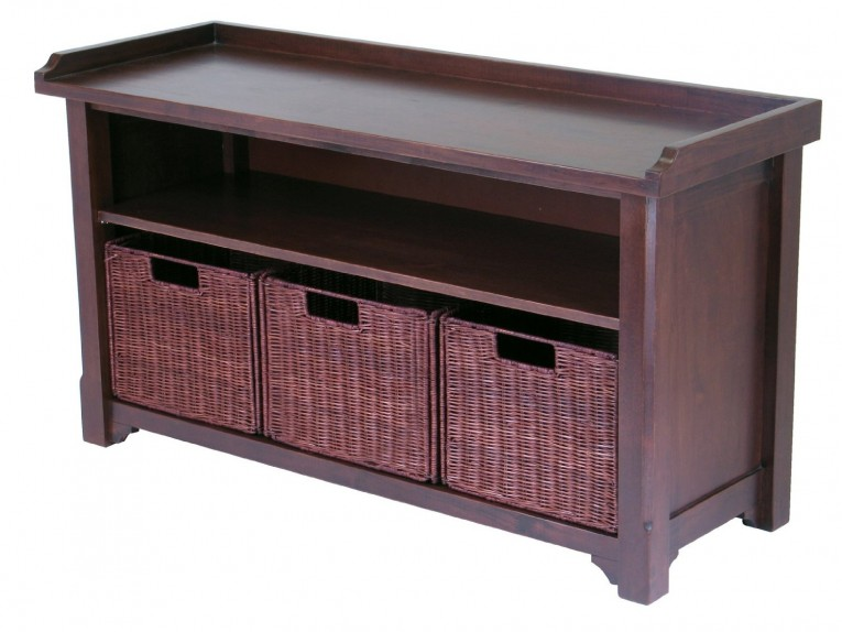 Nice Wicker Rattan Basket With Storage Benches