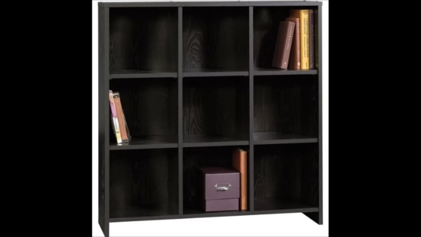 nine shelf sauder bookcases with black color