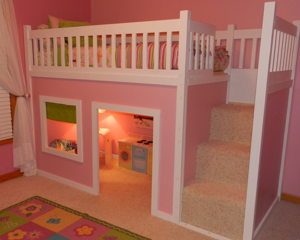 pink cheap loft beds with pink rugs