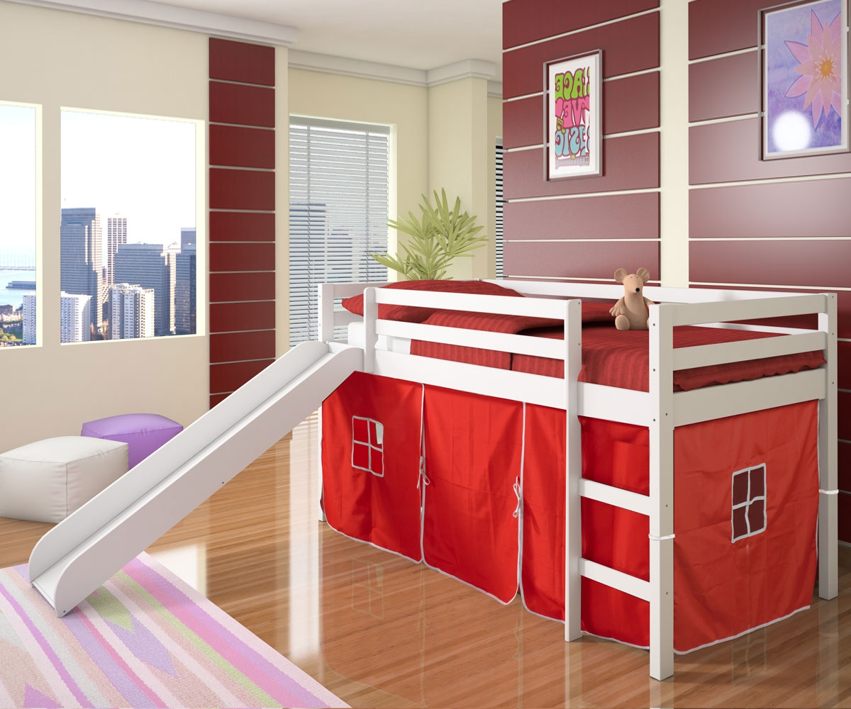red cheap loft beds with pink rug and laminate flooring
