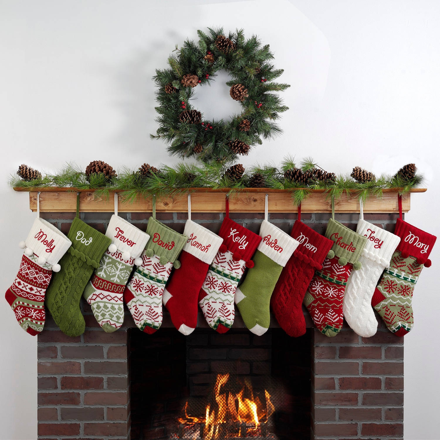 red personalize monogrammed stockings in the christmas display for living room ideas