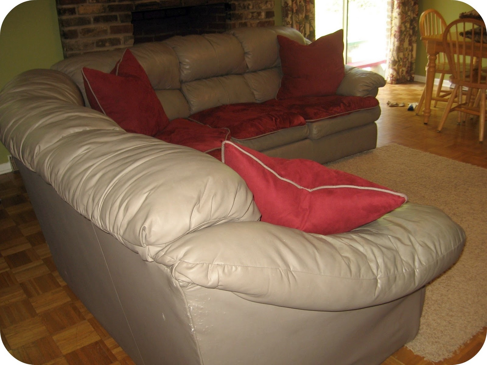 sectional sofa covers with red toss pillows