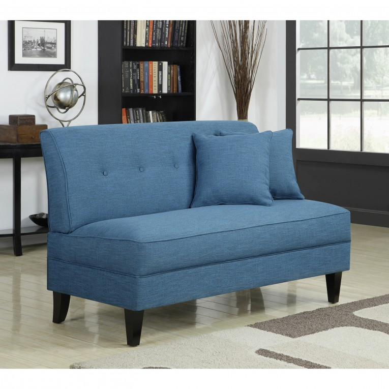 Unique Ocean Blue Armless Settee With Ceramic Floor