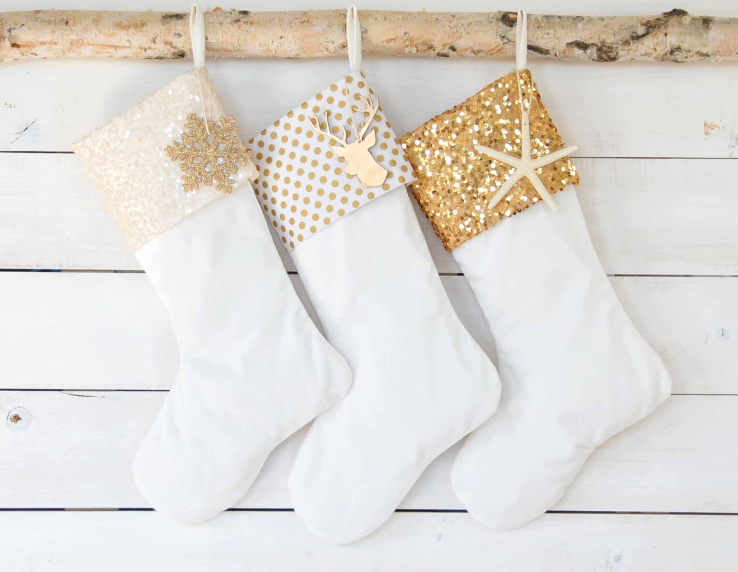 white chrismast monogrammed stockings in the christmas display for living room ideas