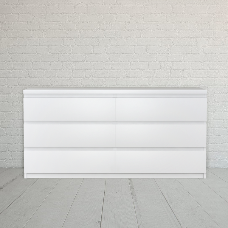 White Malm 6 Drawer Dresser
