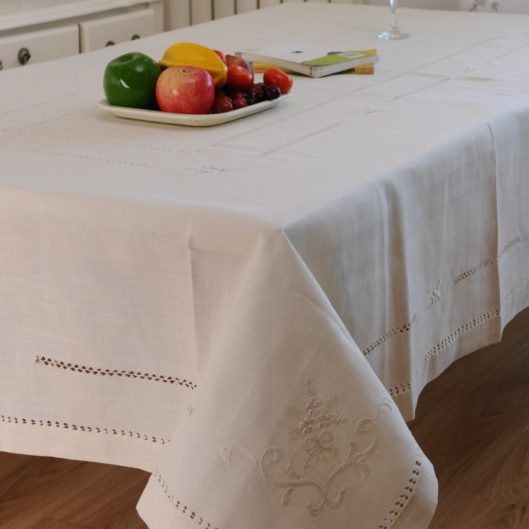White Oblong Tablecloth