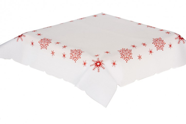 White Oblong Tablecloth With Red Stars Pattern