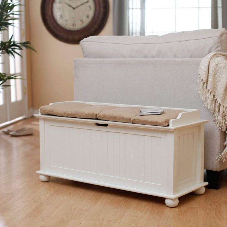 White Storage Benches With Sofas And Laminate Flooring