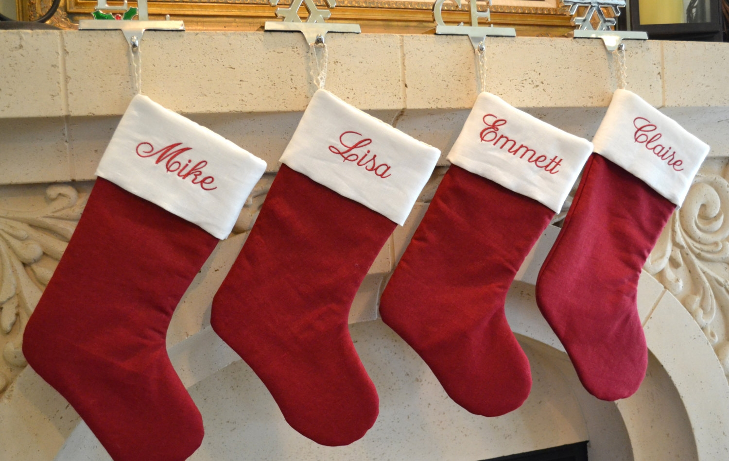 wonderful decorative red stocking monogrammed stockings above fireplaces