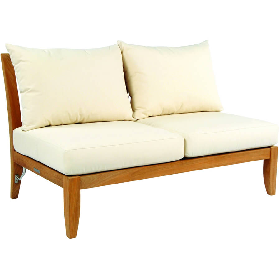 wonderful wooden foot armless settee and white cream ipanema kinglsey