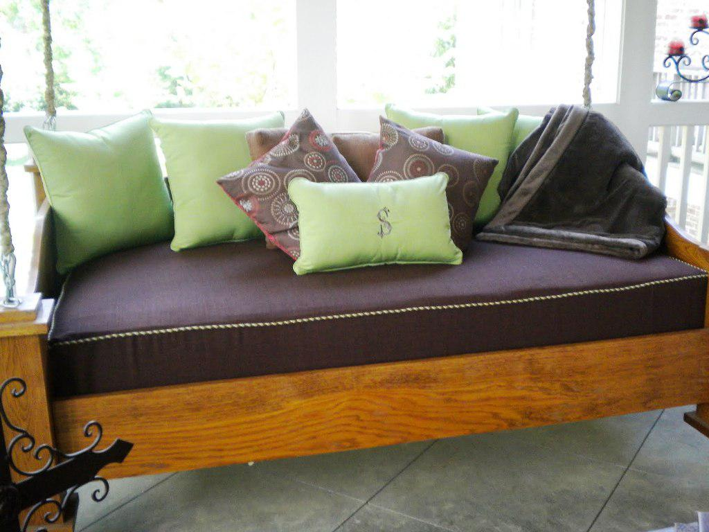 wondrous brown queen daybed and green cushions