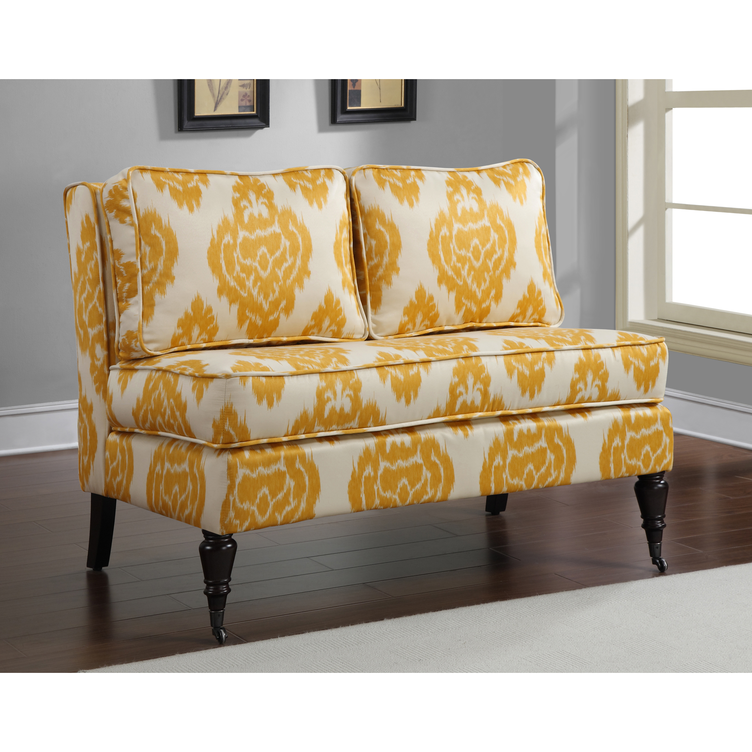 yellow floral decorative ideas armless settee furniture'