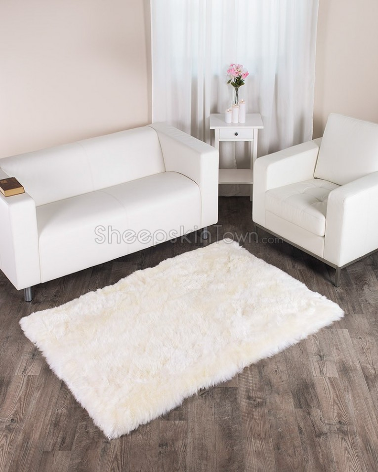 Admirable 4x6 Rugs Sheepskin Rug And Dark Laminate Floor Also Sectional Sofa Combined With Queen Bedsize For Living Room Or Bedroom