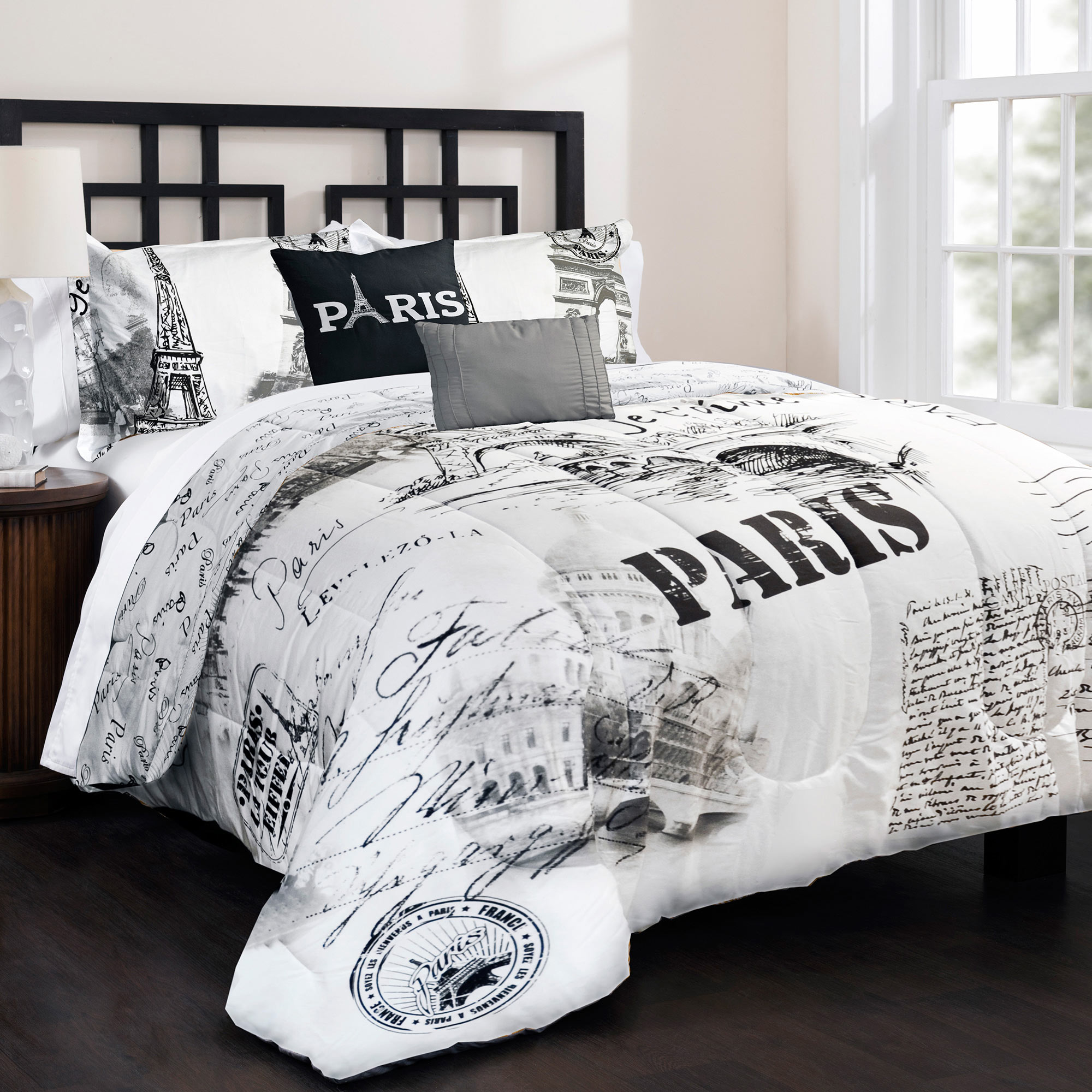 Admirable Bedroom with black and white comforter sets and laminate porcelain floor also curtain and sidetables