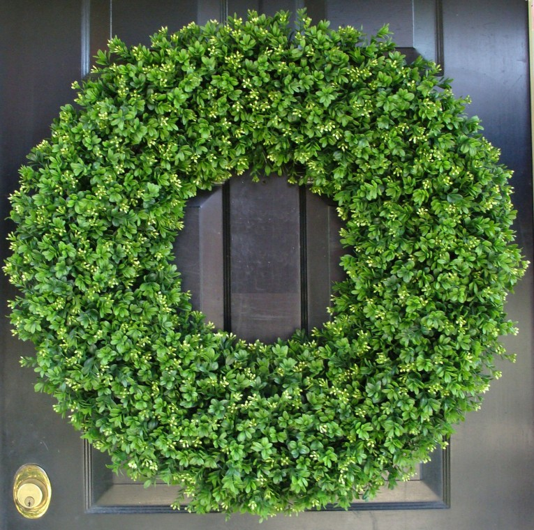 Admirable Artificial Boxwood Wreath With Round Circle Shape And Green Colors Artificial Boxwood Wreath For Outdoor Or Indoor Ideas