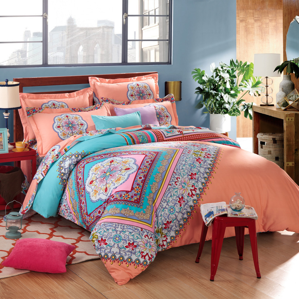 Bedroom admirable bohemian comforter with twin full queen size cotton bohemian comforter with for Beautiful bedroom comforter sets