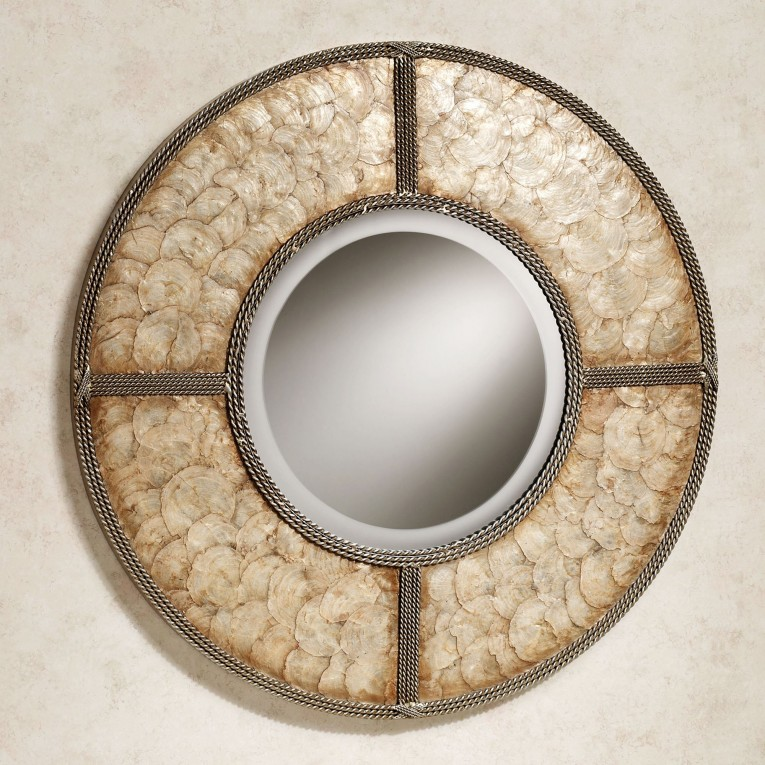 Admirable Capiz Shells Wall Mirror Gold With Light Capiz Shells For Your Home Lighting Ideas