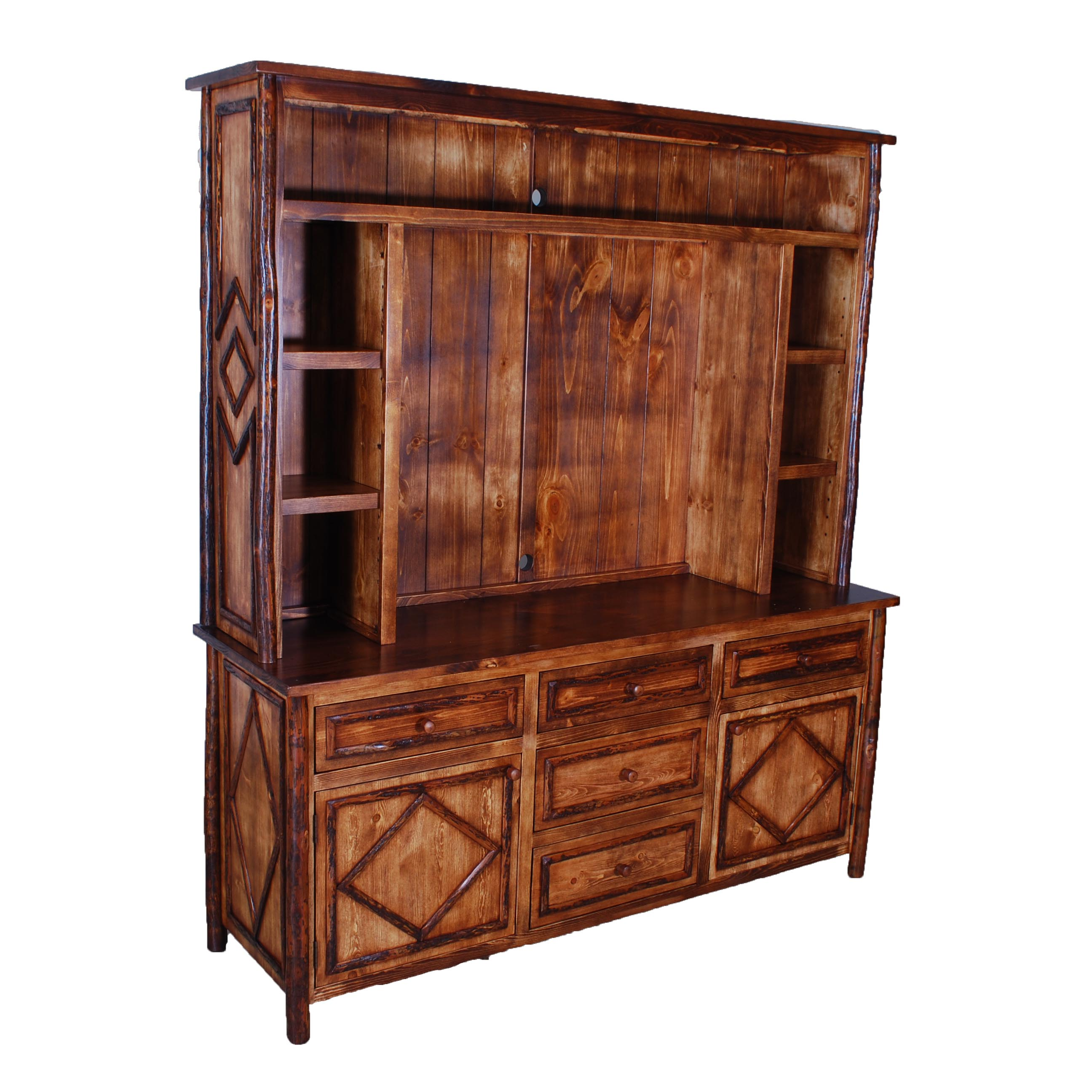 Admirable hickory furniture with wooden large cabinet plus drawers and shelves