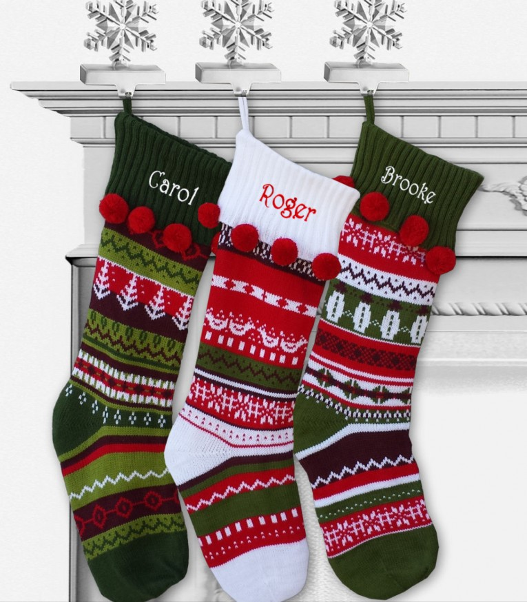 Admirable Knit Christmas Stockings With Multicolorful Christmas Stocking And Fireplace At Chistmas Day Interior Design